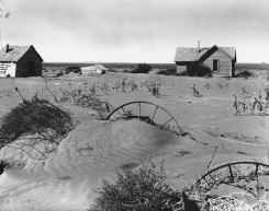 """Abandoned farmstead in the Dust Bowl region of Oklahoma, showing the effects of wind erosion, 1937"" Image Source: http://www.britannica.com/media/full/174462/96105"