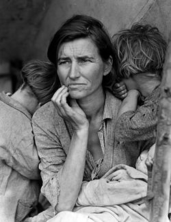 """Migrant Mother"" fleeing the Dust Bowl Photo Credit: Dorthea Lange (1936)"