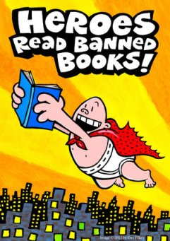 Artwork by author Dave Pilkey to celebrate his character's love of reading and banned books