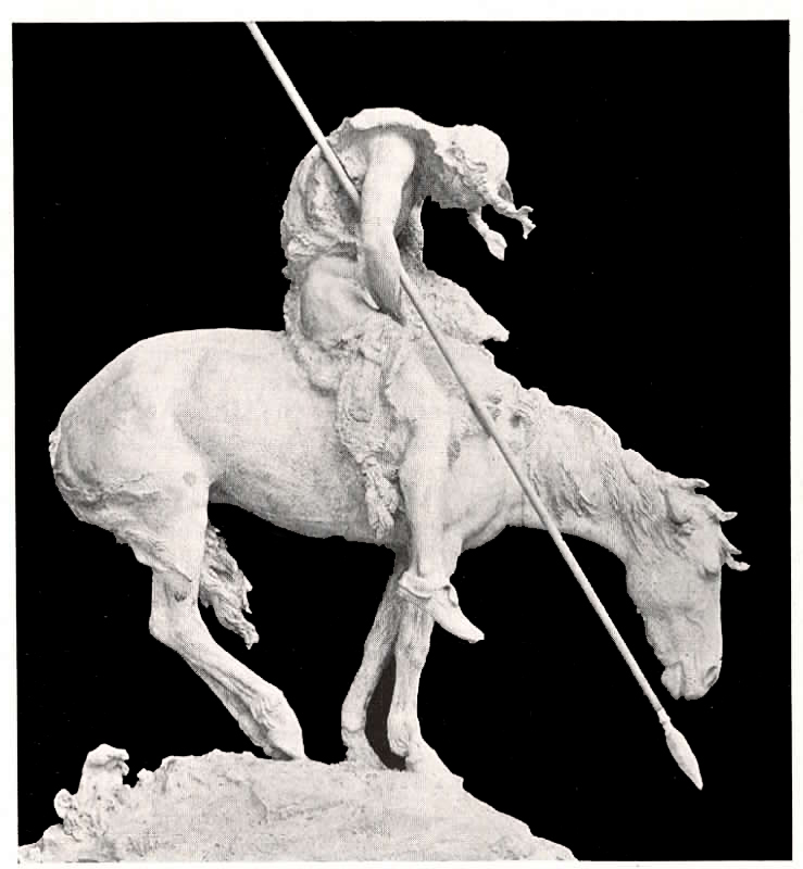 Statue by James Earle Fraser depicts the exhausted warrior as he completes his treacherous journey in the